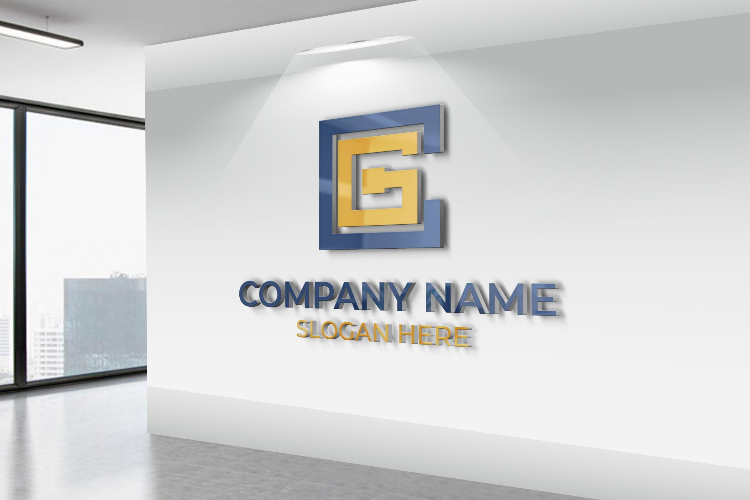 CG Initial Letter Logo on white wall