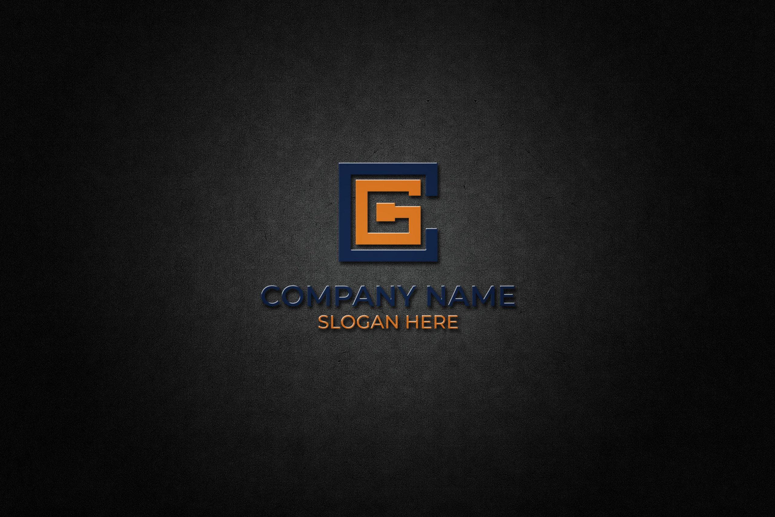 CG Letter Monogram on dark wall