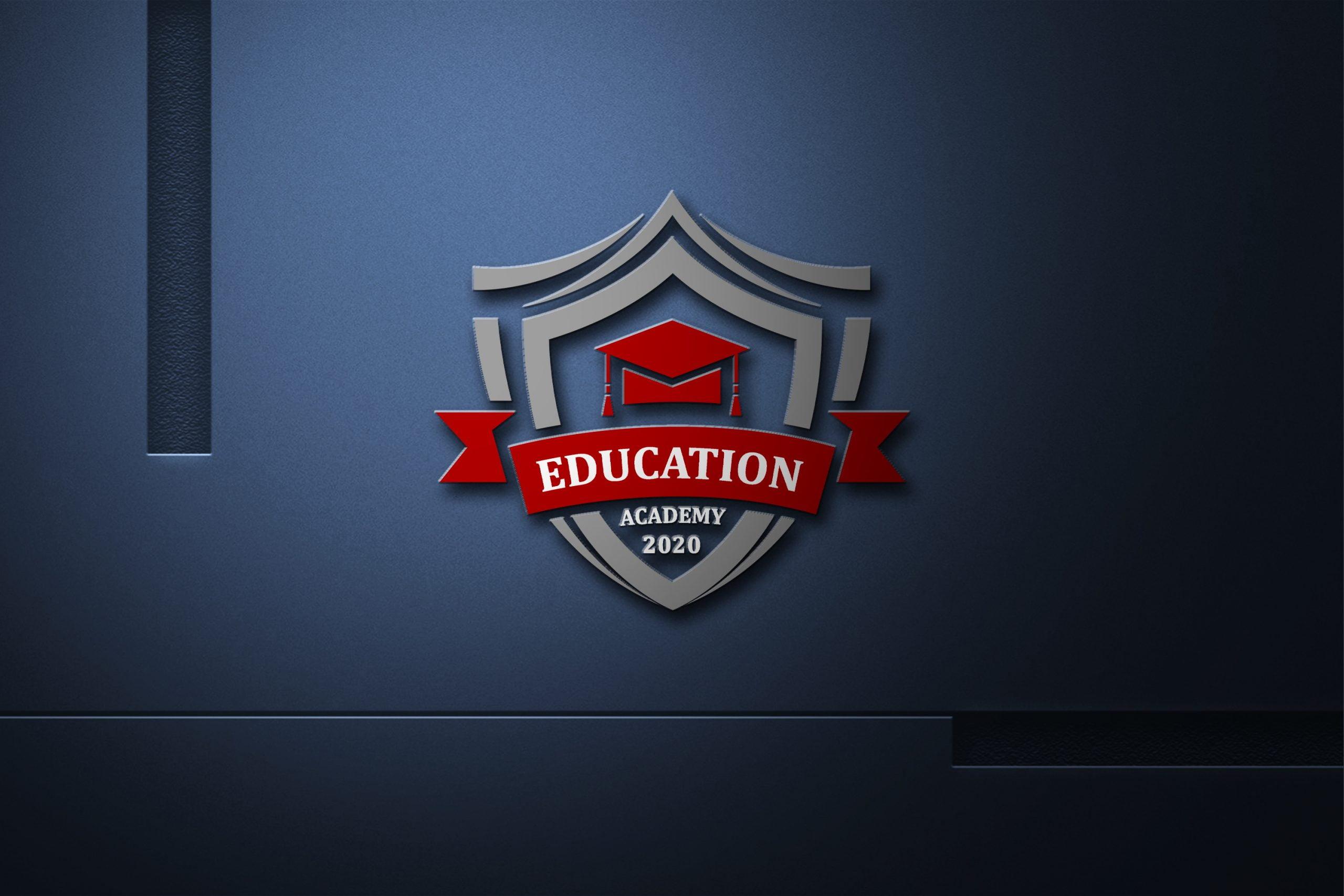 Education Academy Logo On dark wall
