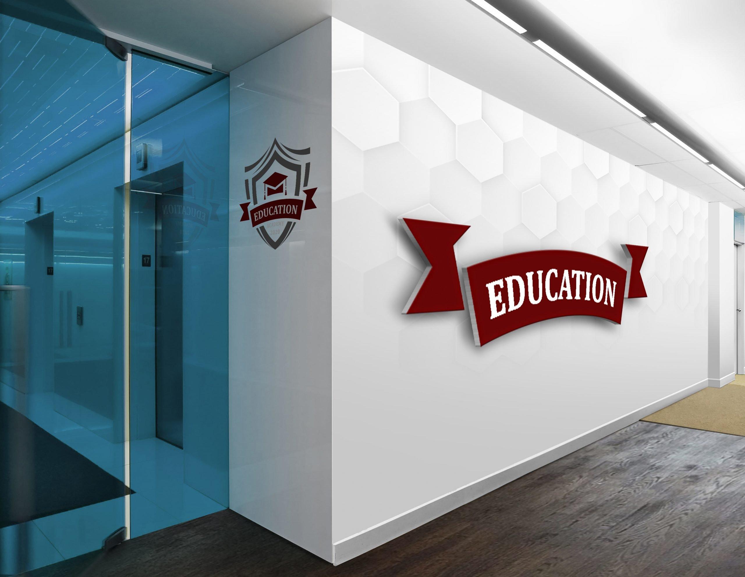 Education Academy Logo on white wall