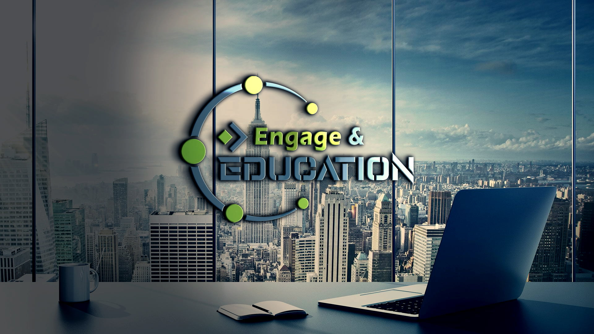 Engage in Education Logo Concept on Transparent wall