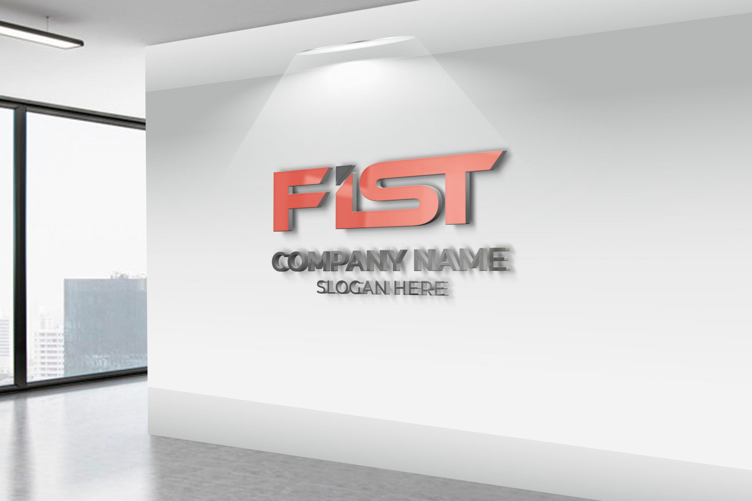 FIST logo on white office wall