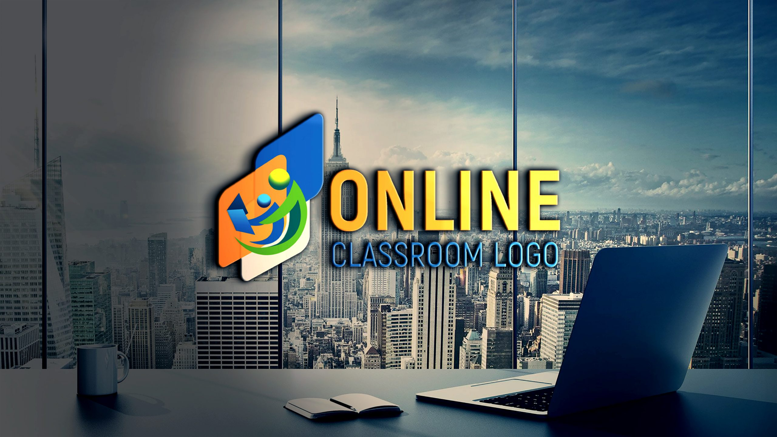 Free Online Class Logo Template on Transparent Glass