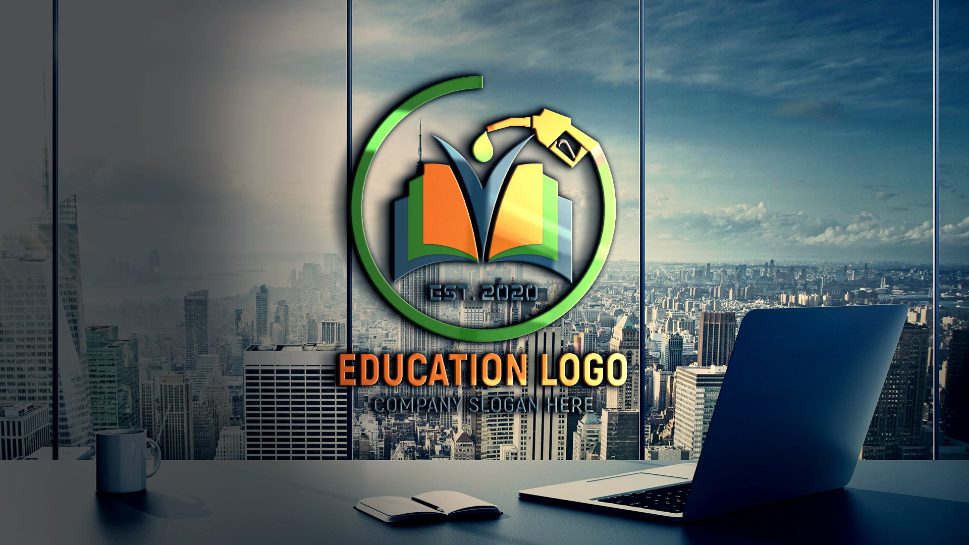 Fueling Education Logo Design on transparent wall