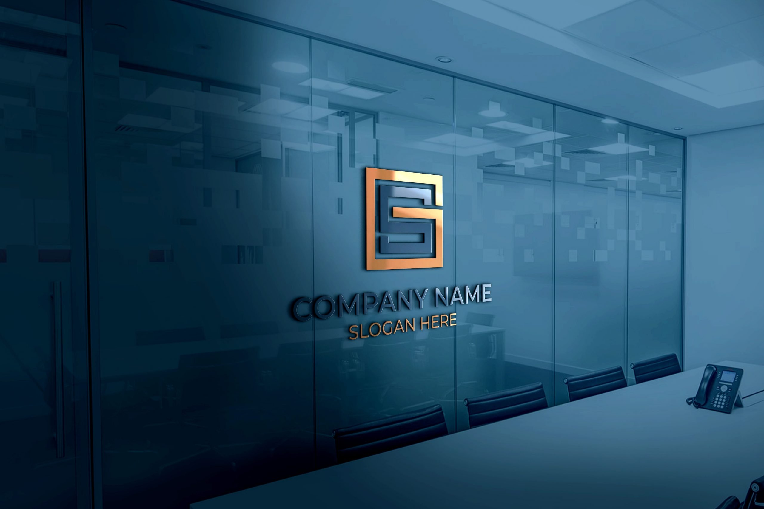GS Logo on 3d glass window