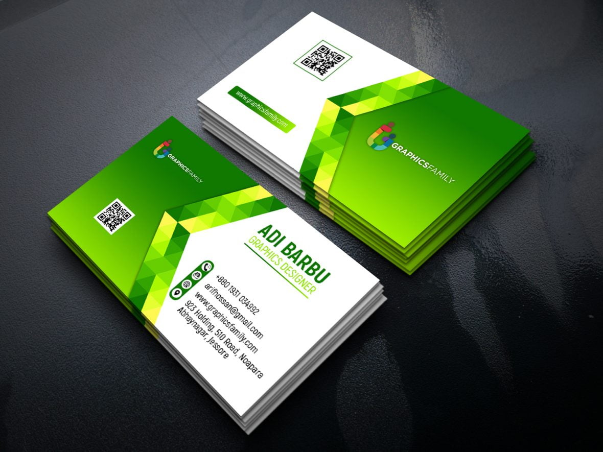 Green Abstract Business Card Free PSD Template – GraphicsFamily For Free Psd Visiting Card Templates Download