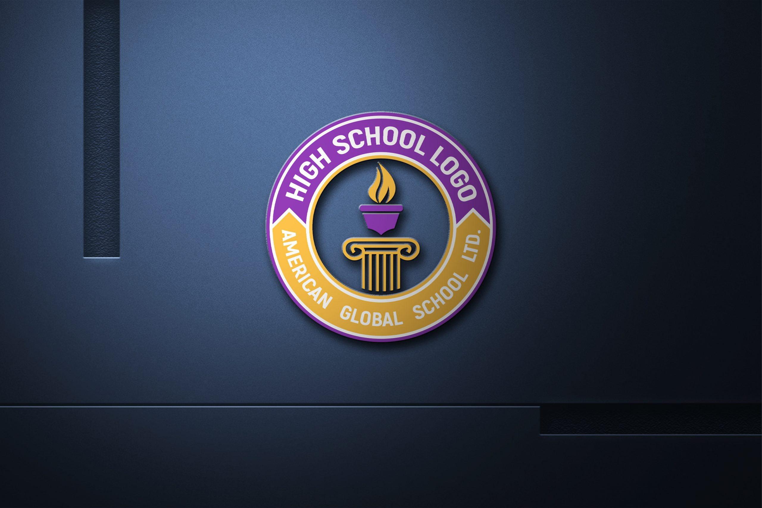 High-School Logo Free psd Template