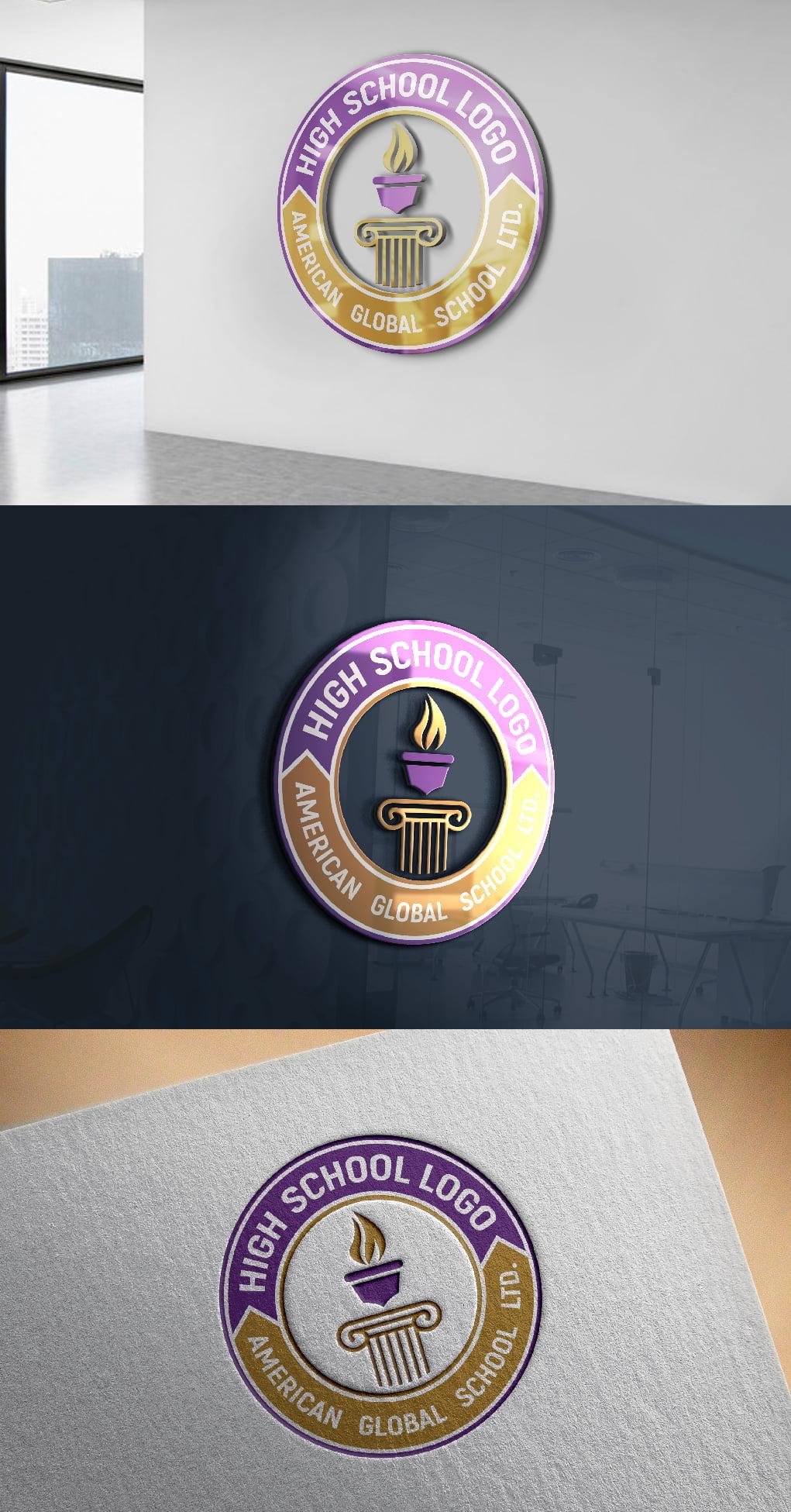 High school Logo design free psd
