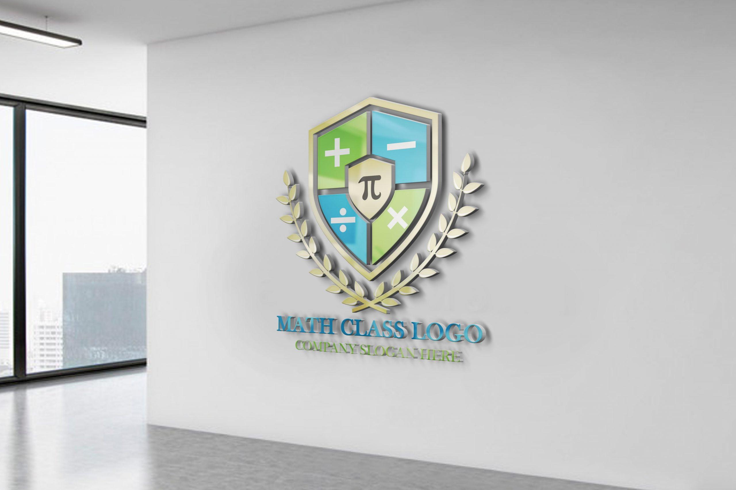 Math Tutorial Logo Design On white office wall