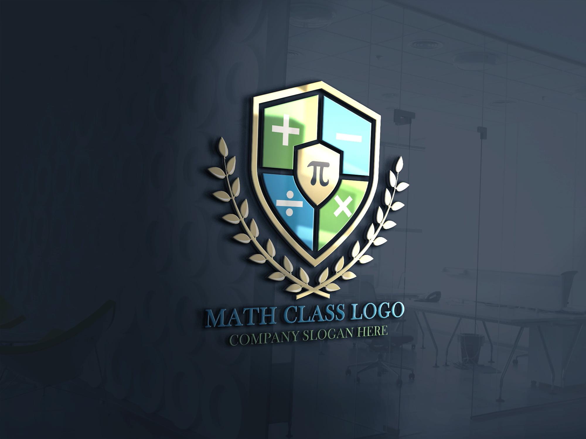 Math Tutorial logo on 3d Glass window