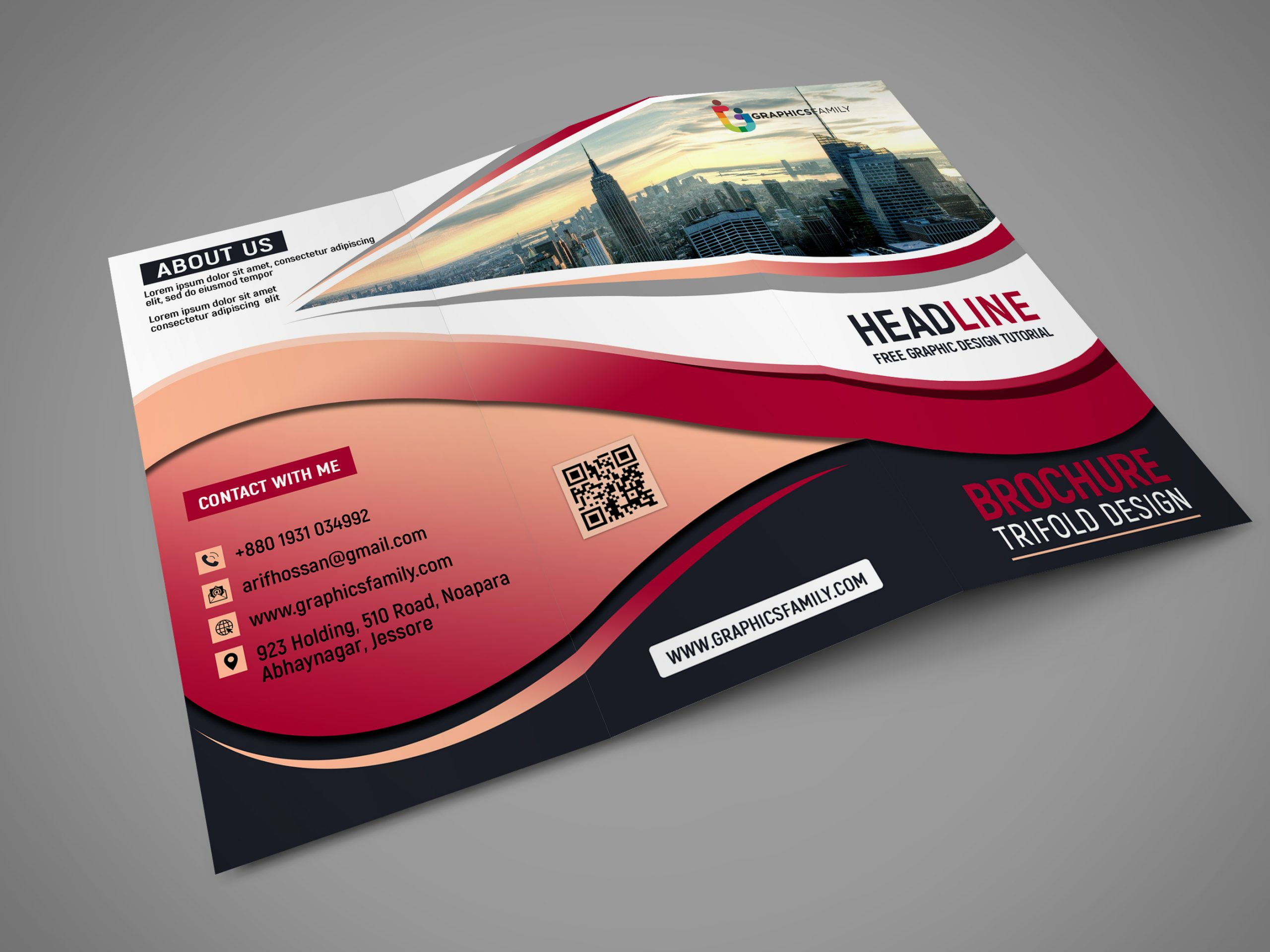 Modern Tri fold Brochure For Business Free psd