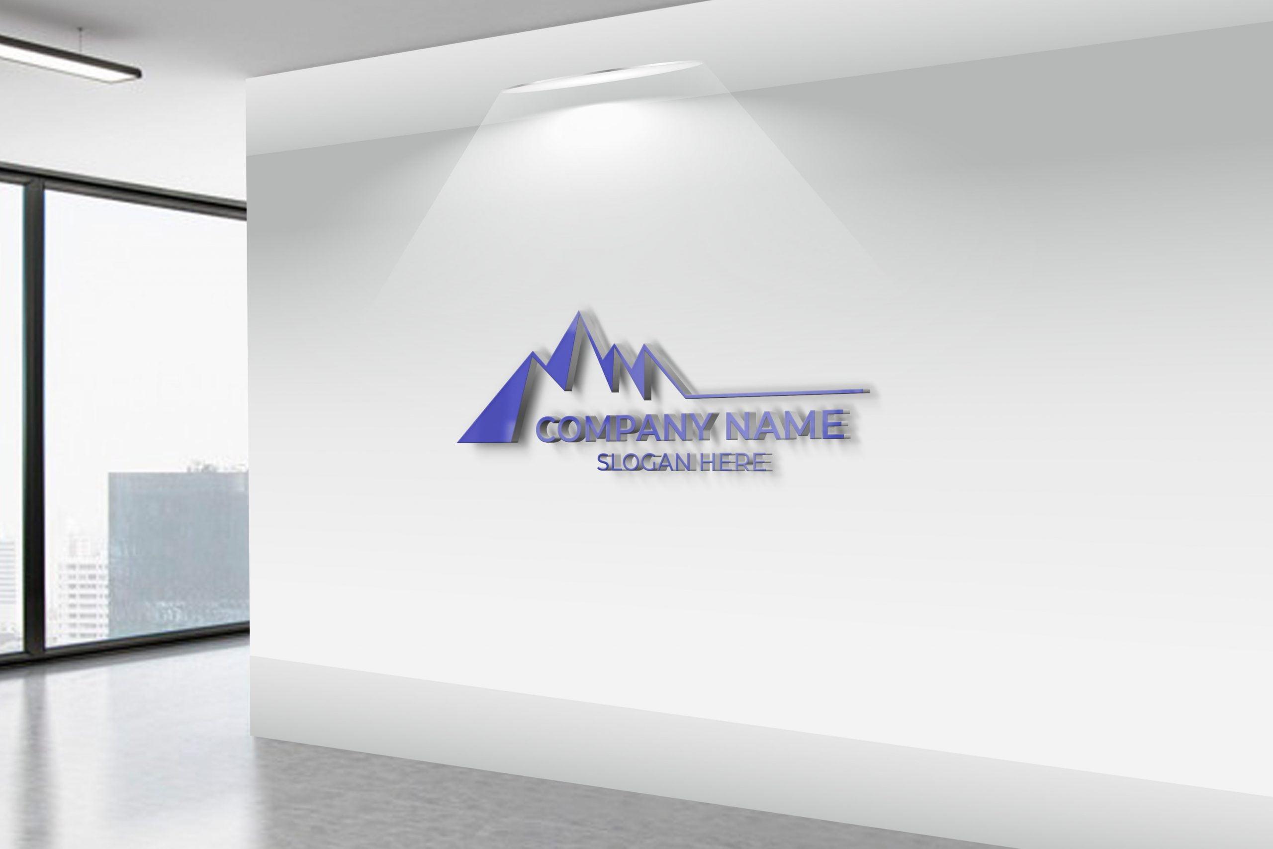 Mountain logo on white wall
