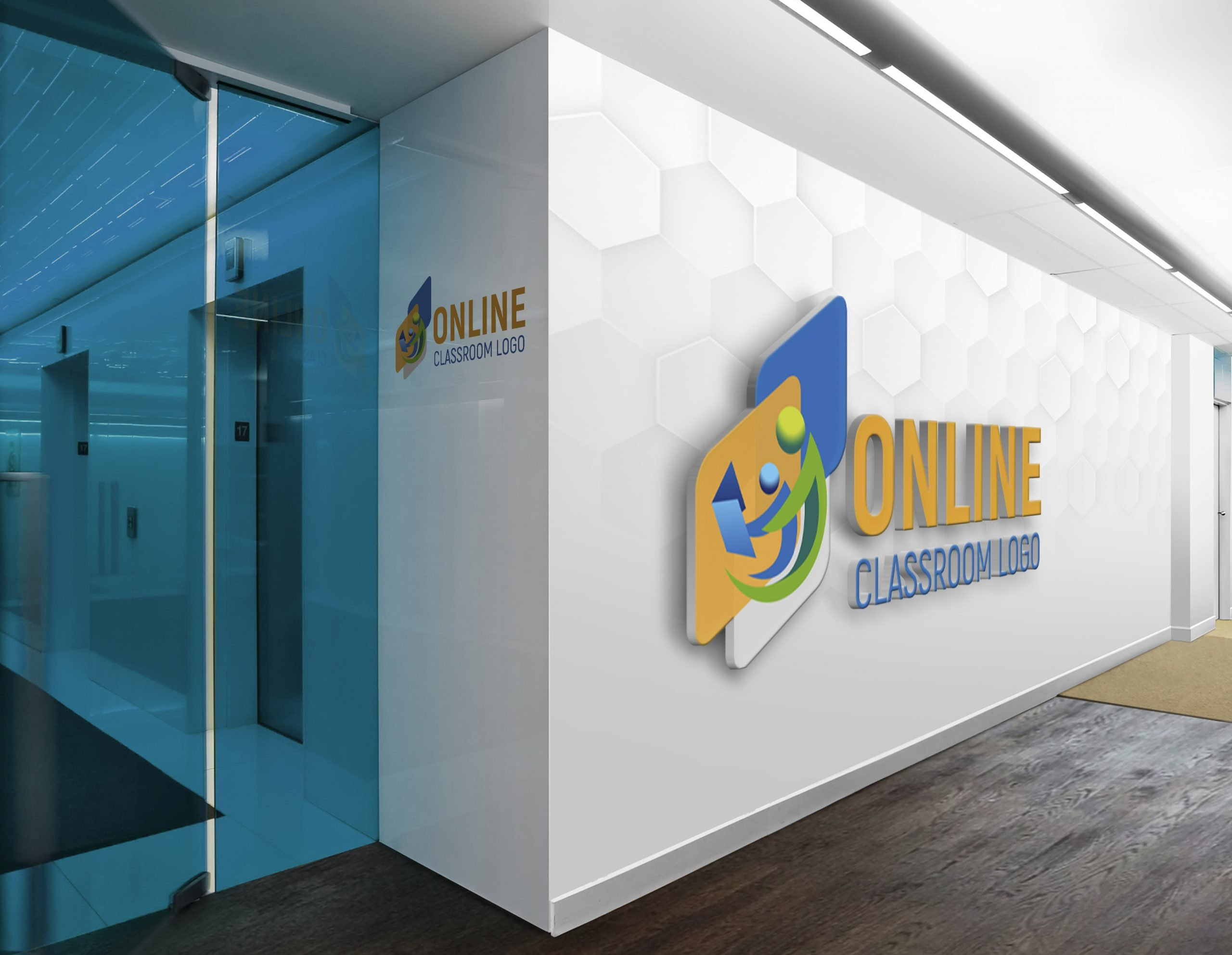 Online class logo on office wall