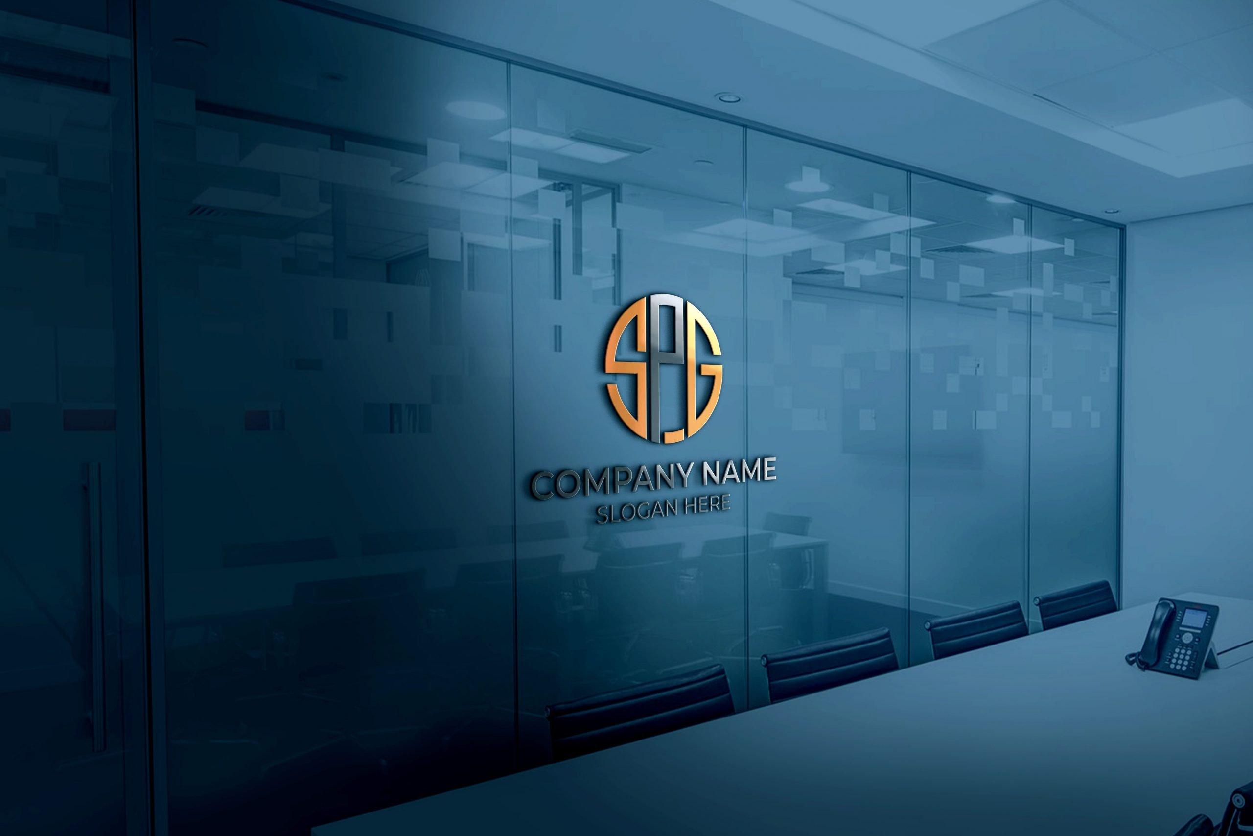 SPG logo on 3d glass window