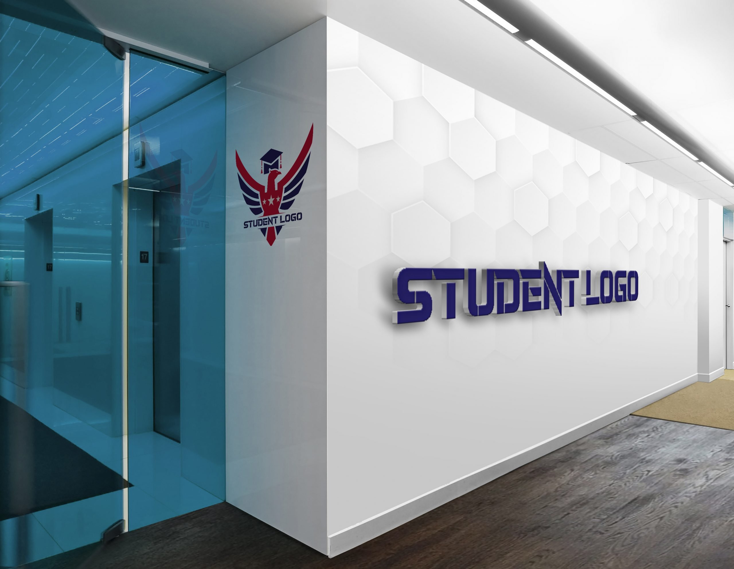 Student Logo On white wall