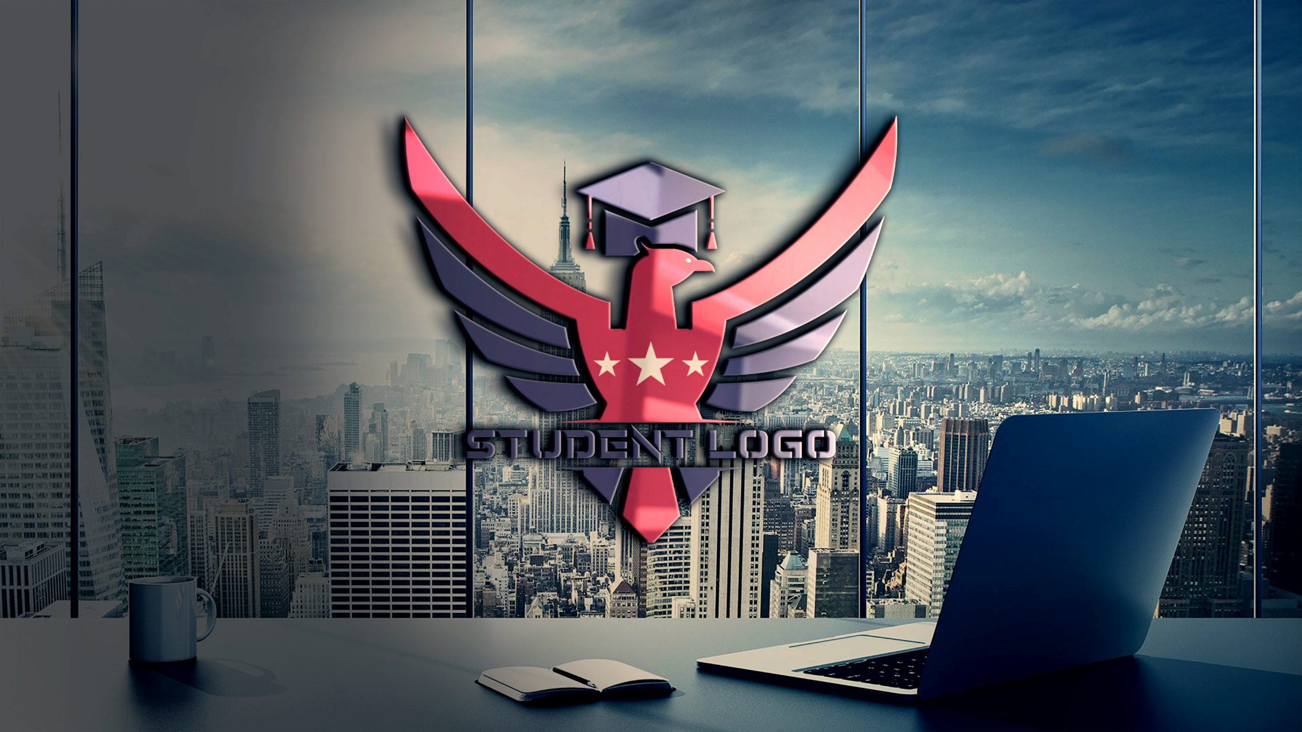 Student Logo on transparent wall
