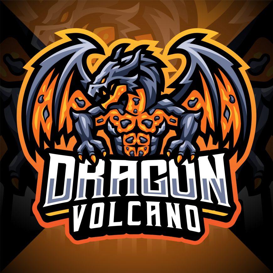 dragon volcano mascot logo