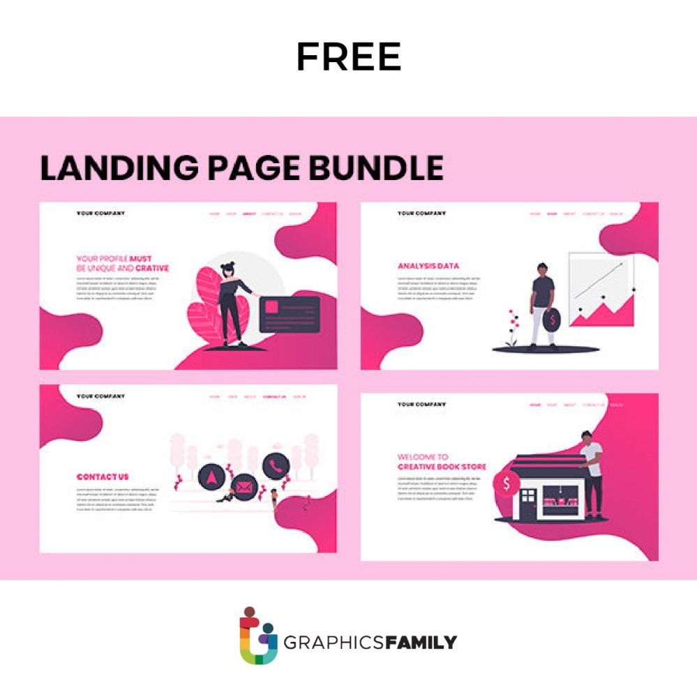 Free Pack of 4 Landing Page Designs
