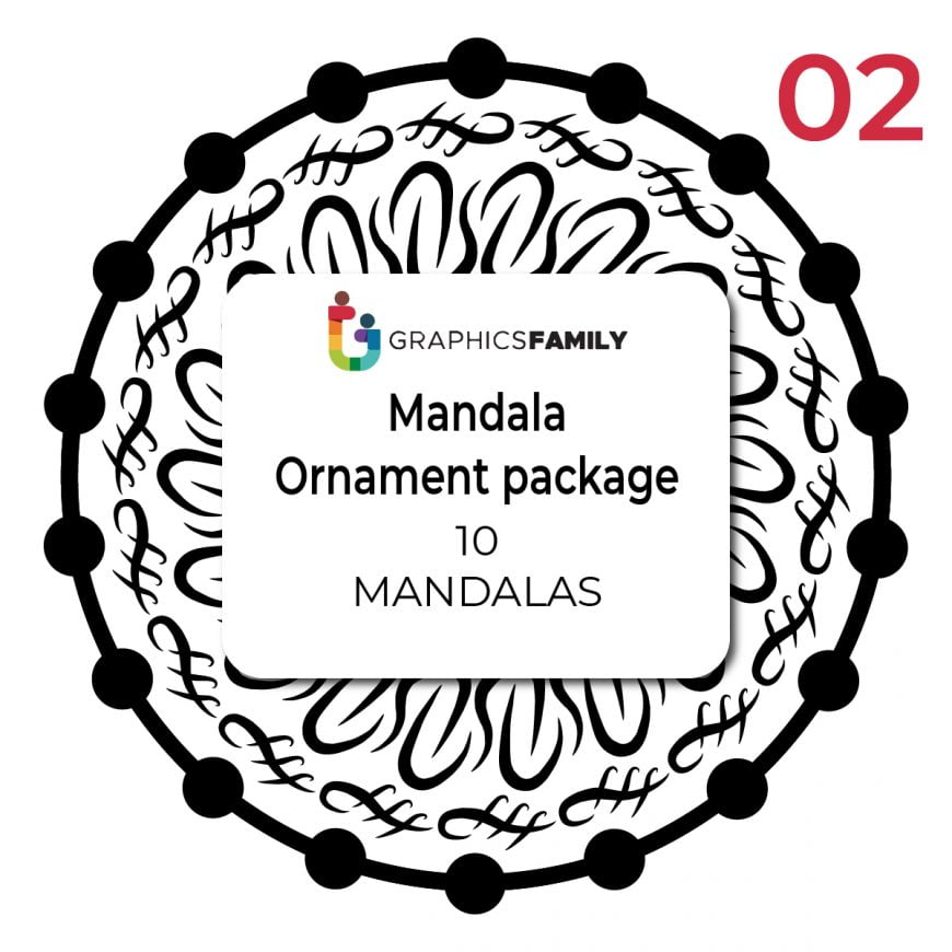 Free Pack of 10 Mandala Ornament Designs Vectors
