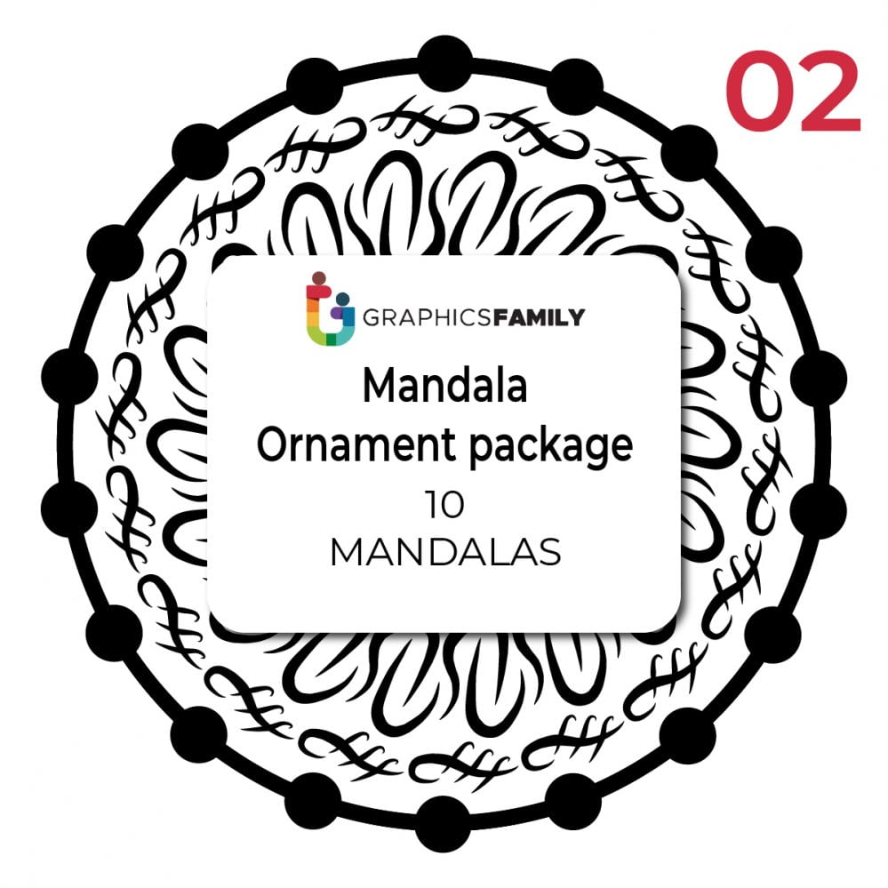 Free Pack of 10 Mandala Ornament Designs Vectors
