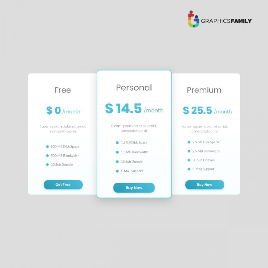 Pricing Table Free Vector Art