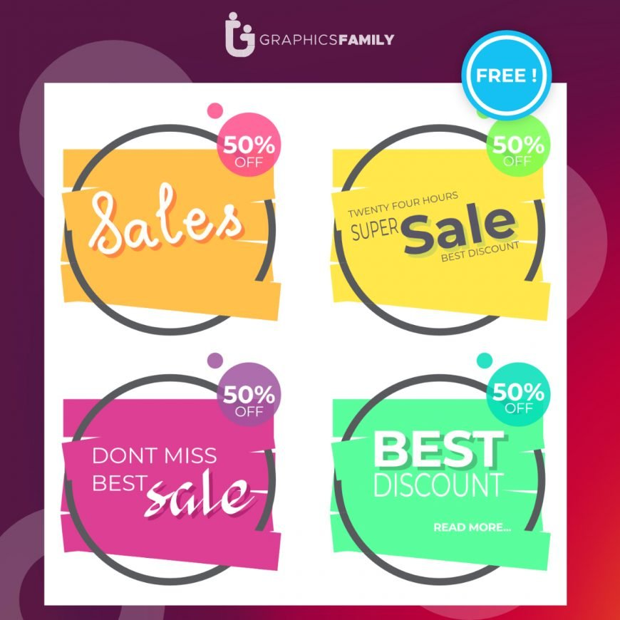 Free Colorful Sale Banner Collection