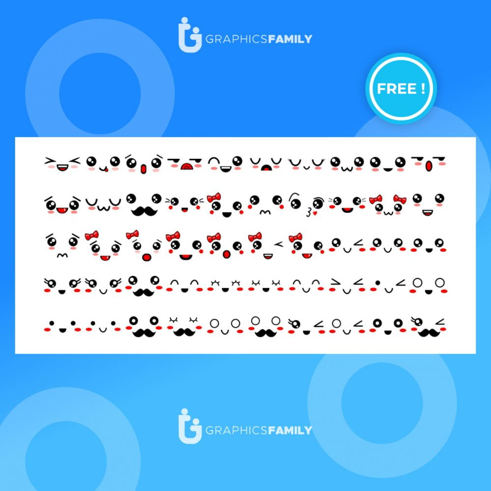 Free Expressive eyes and mouth, smiling, crying and surprised character face expressions vector illustration set