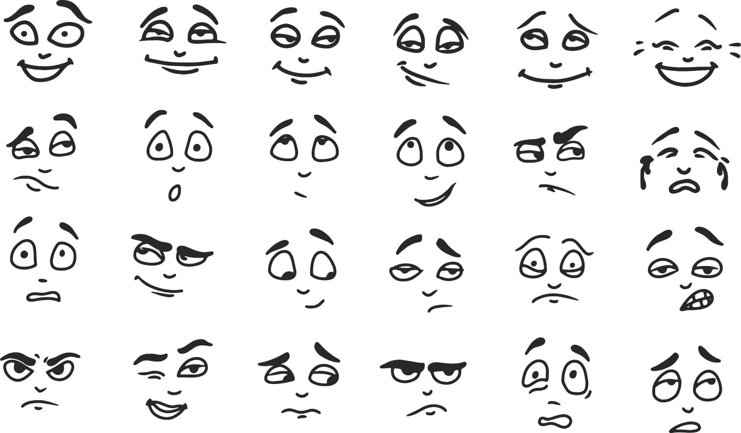 Facial expression illustration set