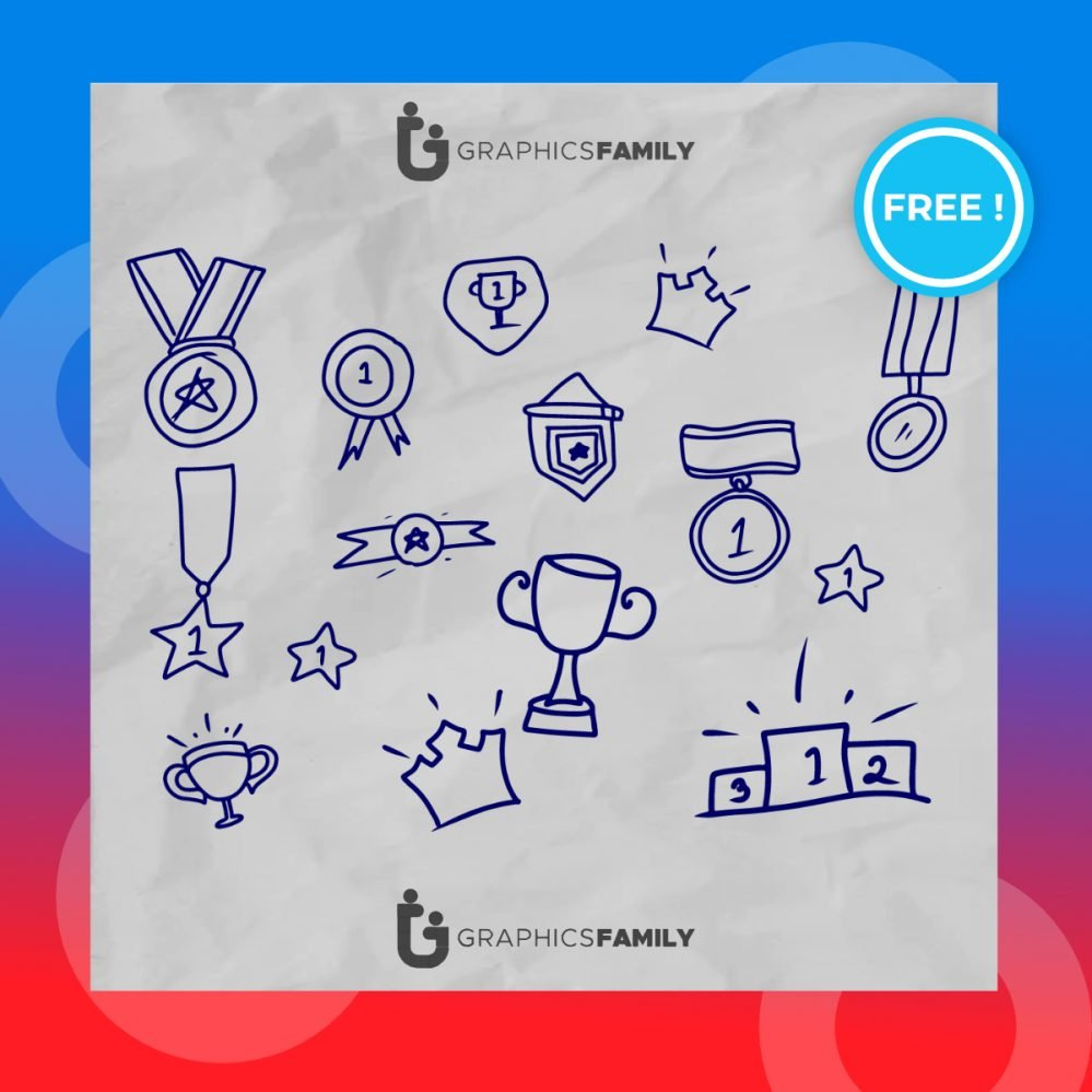 First place winner doodles collection vector download