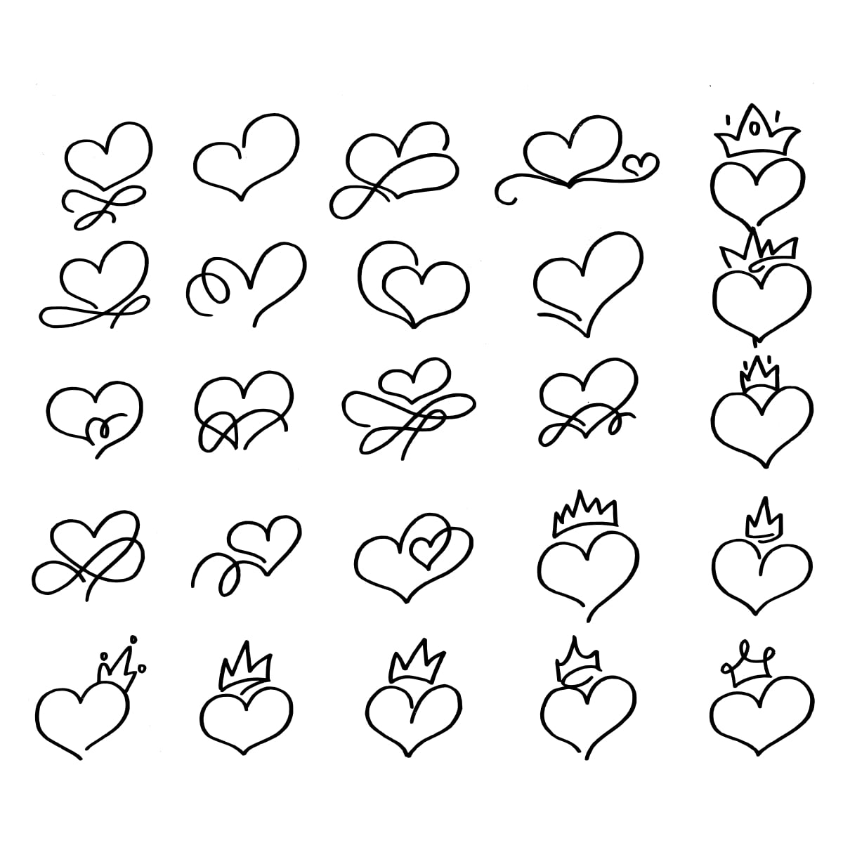 Free Hand drawn crowned hearts. doodle princess, king and queen crown on heart, sketch love crowns