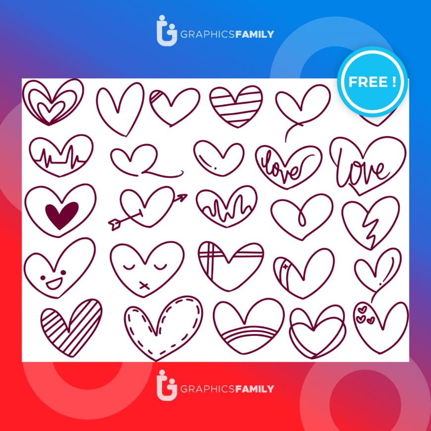 Free Vector Illustration of Doodle Shape, Valentine's Special Love Download