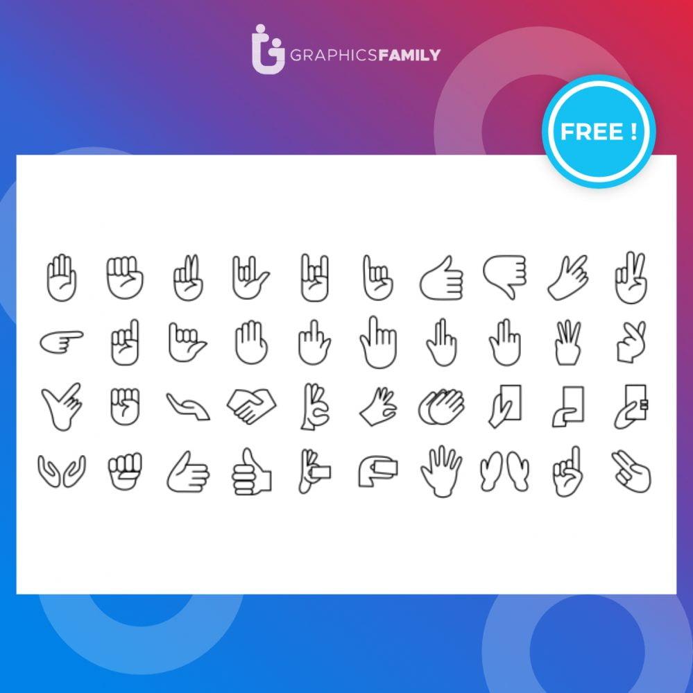 Hand gestures line icon set