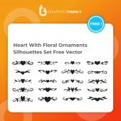 Heart With Floral Ornaments Silhouettes Set Free Vector