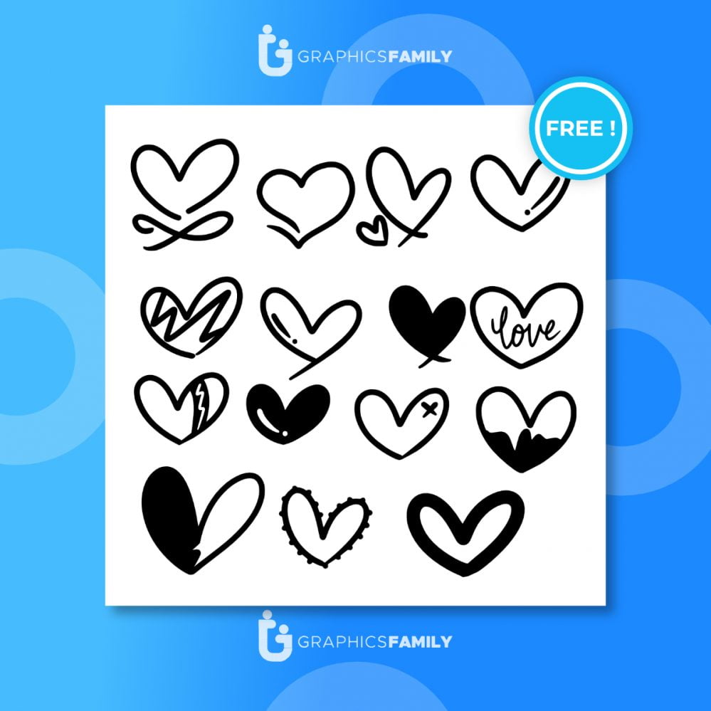 Love hearts flourish. heart shape flourishes, ornate hand drawn romantic hearts and valentines day symbol