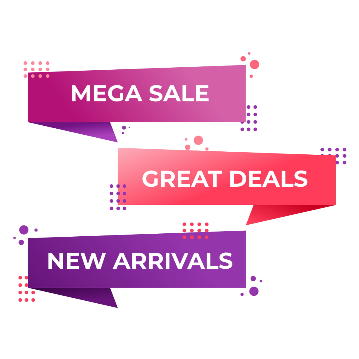Memphis style flat sale and discount banner design download