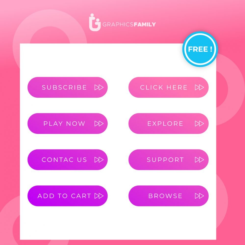Free Pack of modern style buttons for mobile app, website design, banners or social media posts