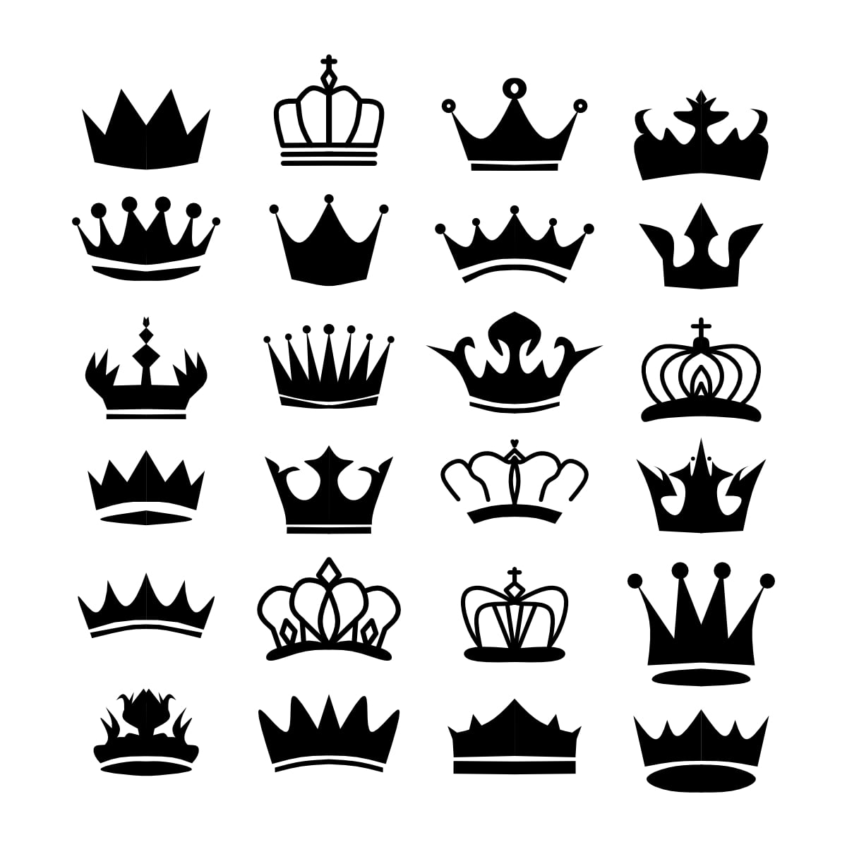 Royal crown silhouette. king crowns, majestic coronet and luxury tiara silhouettes set