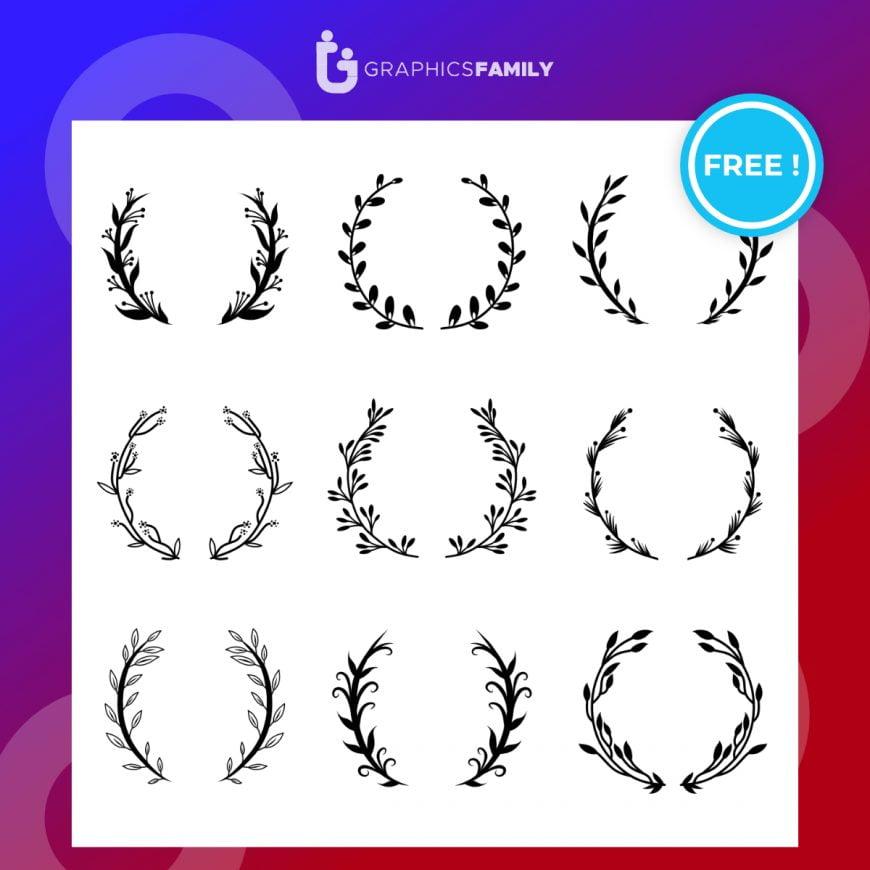 Various round floral and laurel frames set