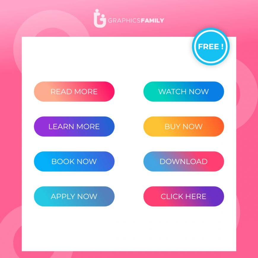 Set of Modern Material style buttons mobile app infographic different gradient colors1