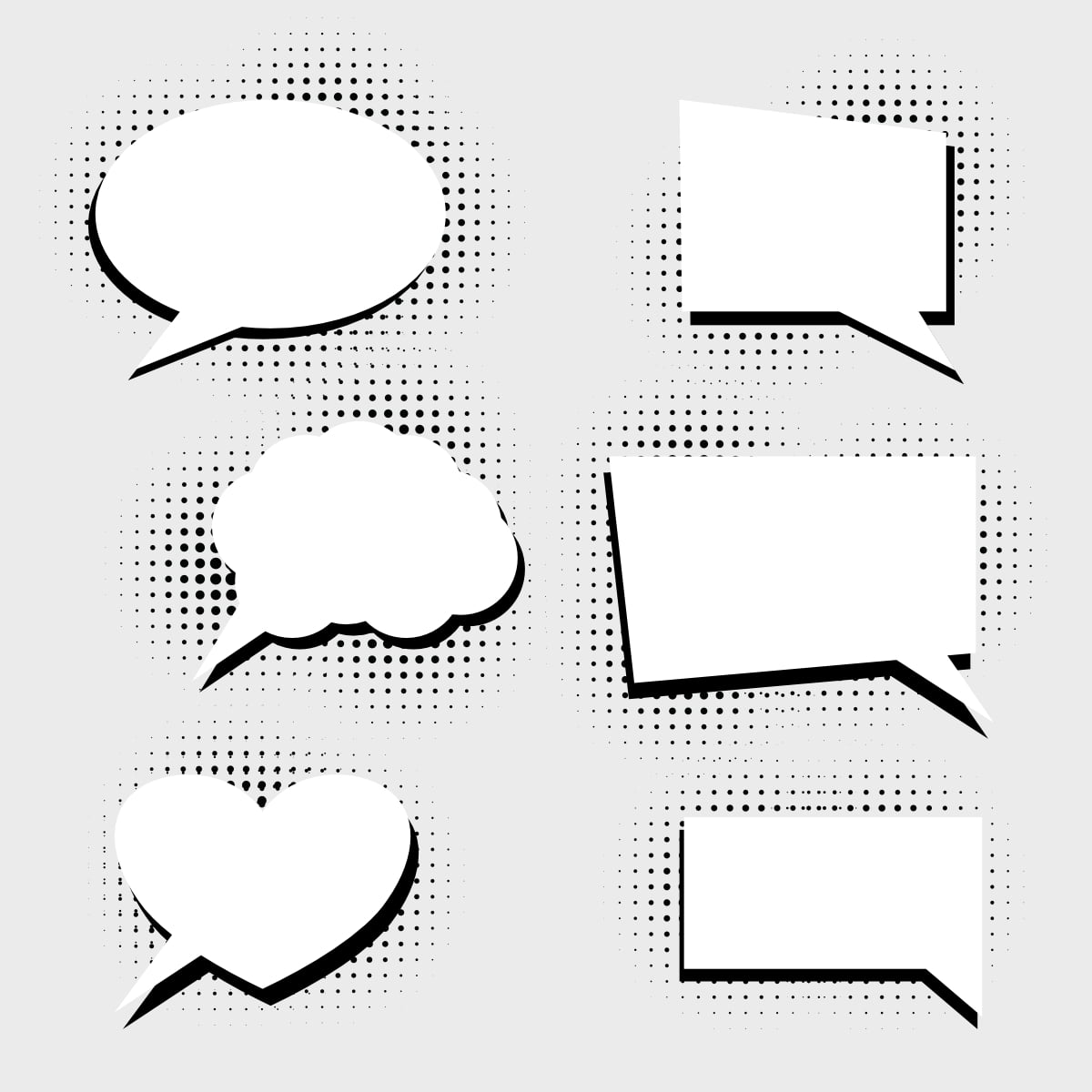 Free Speech bubbles with halftone dots