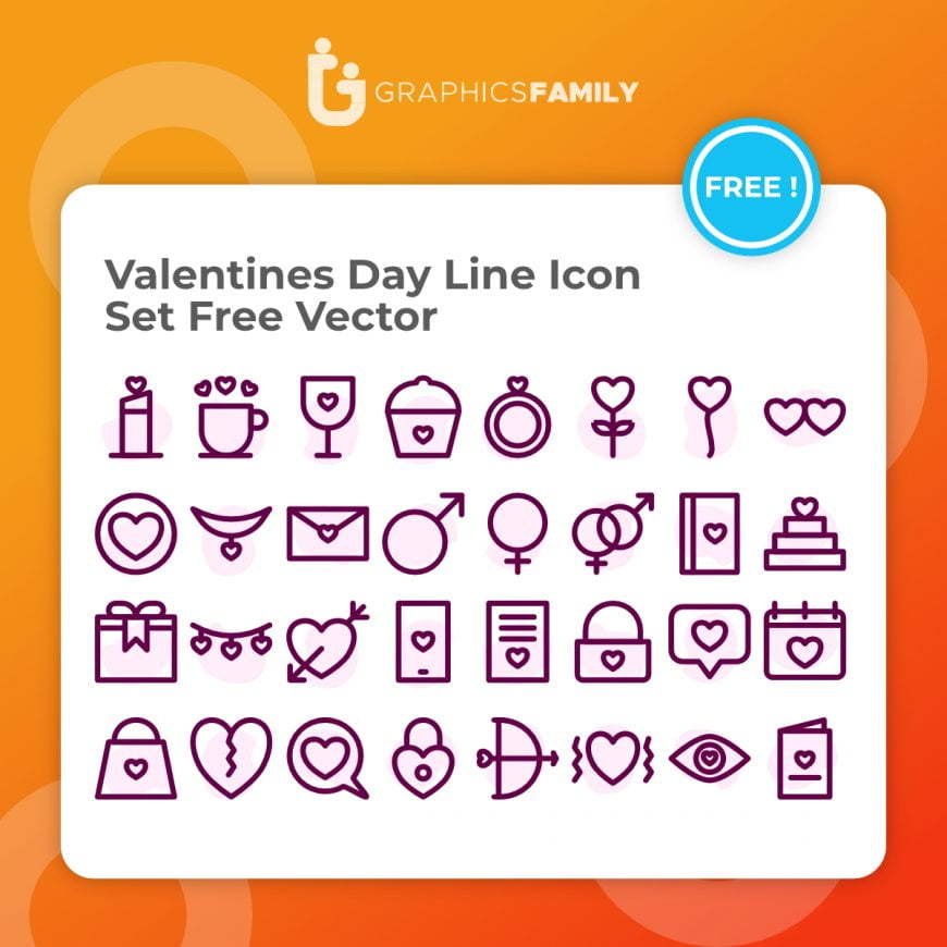 Valentines Day Line Icon Set Free Vector