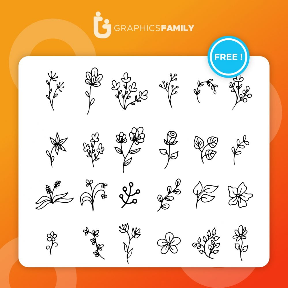 Various flowers doodle collection vector Free Vector
