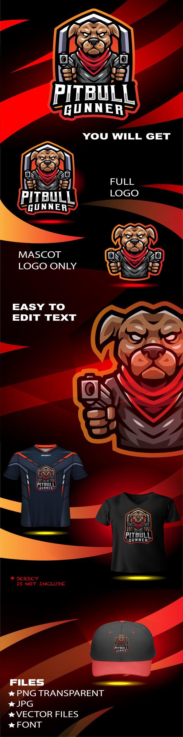 Pitbull Gunner Esport Mascot Logo