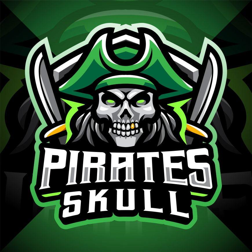 Skull Pirates Mascot Gaming Logo