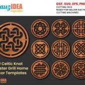 9 Celtic Knot Coaster Grill Home Decor Templates Vector Digital SVG DXF Files Download Laser Cutting Plasma Cricut Maker