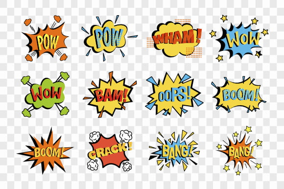Comic speech bubbles set isolated on transparent background vector
