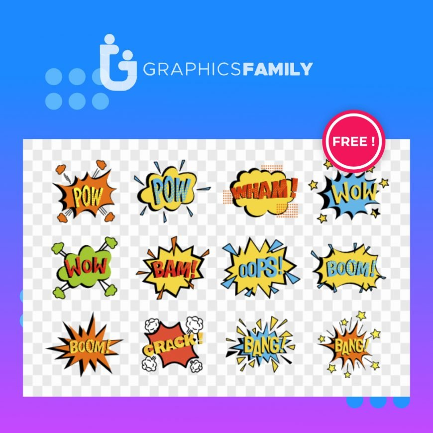 Comic speech bubbles set isolated on transparent background vector Free