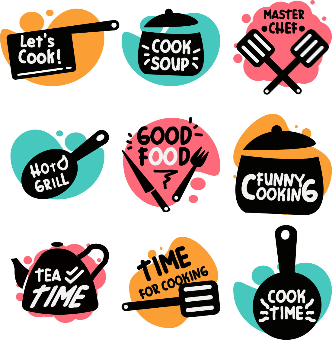Cooking food lettering. kitchen badge logos, baking foods typography and cook labels set