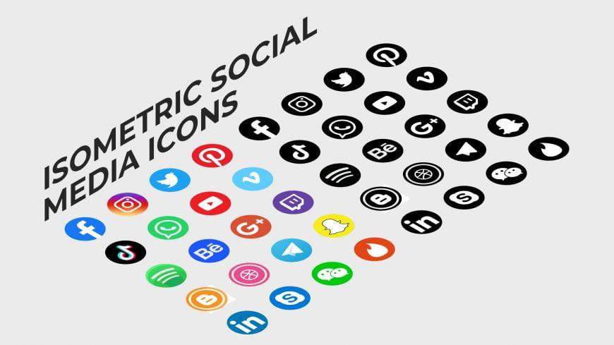 Isometric style social media icons
