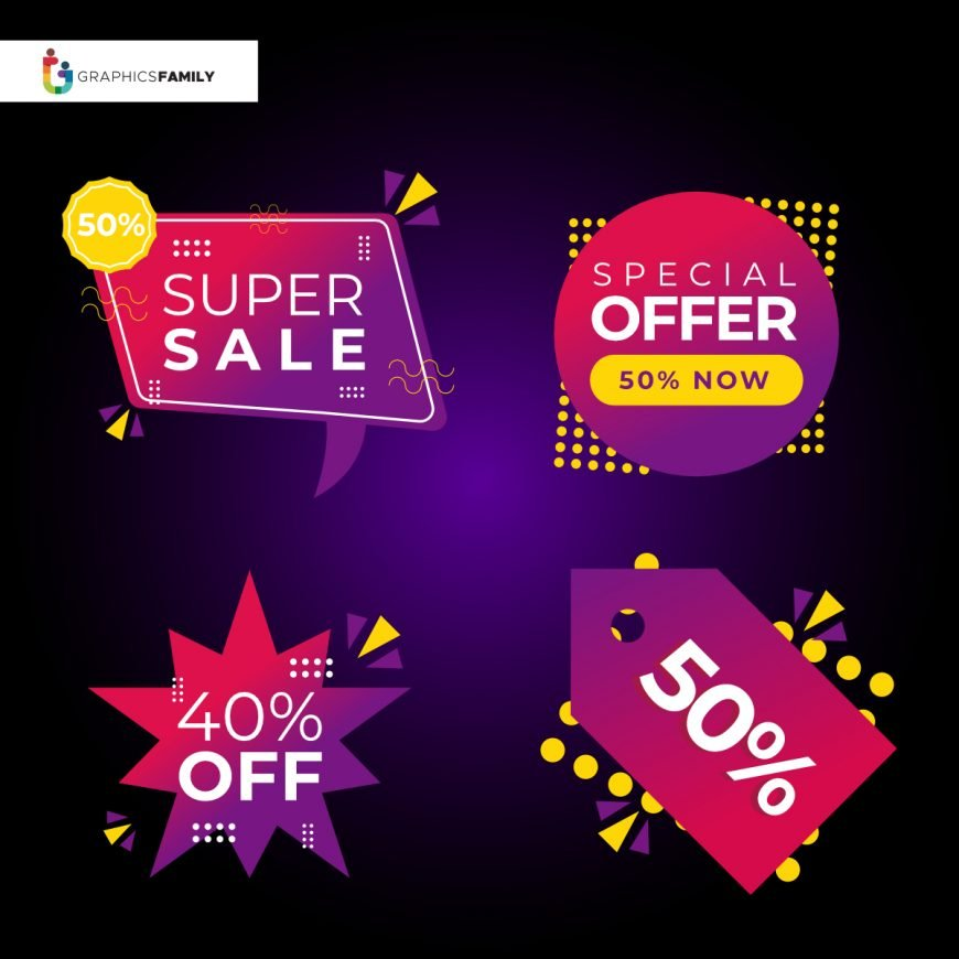 Offer sale labels and banners symbol collection design, shopping and discount theme illustration